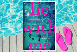 Front cover of lie with me with a backdrop of a swimming pool and pink flip flops