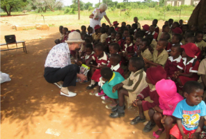 Margaret helping at a school in Zimbabwe