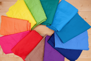 bright rainbow of coloured clothes