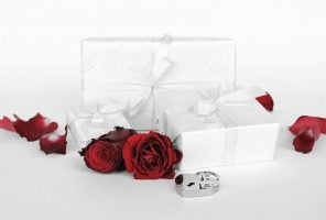 Wedding present and red roses
