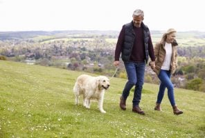 Talking about menopause with partners: couple taking a walk