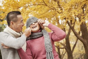 Dating: Mature Couple Enjoying a Park in Autumn