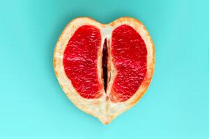 vaginal dryness, vagina represented by a ripe grapefruit