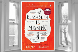 Elizabeth is Missing by Emma Healey on a background of a window