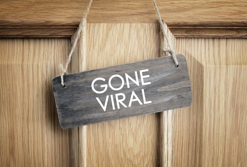 social media presence: gone viral written on an office door