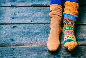 Feet wearing socks