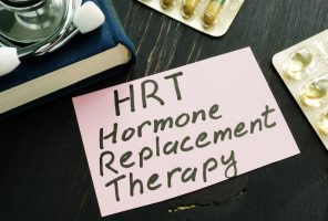 Hormone replacement therapy HRT sign and stethoscope.