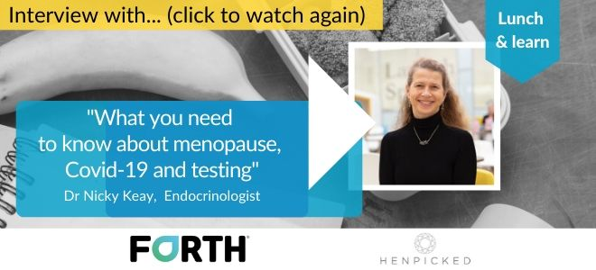 Menopause, hormones, testing, Covid-19